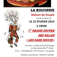 1 er souper des Gilles Les Sans Soucis De Frameries La Bouverie Ce 15 février 2014 à 18H