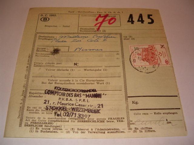 Document SNCB pour envoi de colis no 445 avec timbre oblitéré colis postaux SNCB