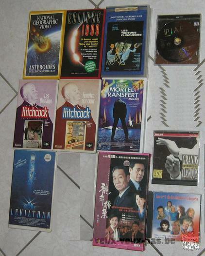 les vidéocassettes films et Cd musique chanson français